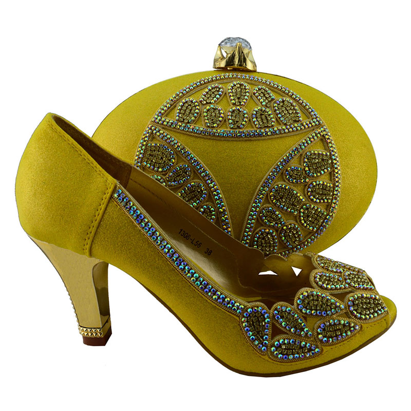 1308-L56 Yellow shoes matching bags women Free shipping high quality Italian design shoes and bag set