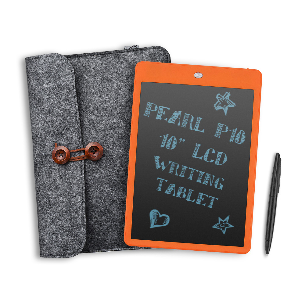 "Parblo Pearl P10 10"" LCD Writing Tablet E-Writer Pad with Eraser Lock Button Orange + Parblo P10 10.5 inches Wool Liner Bag"