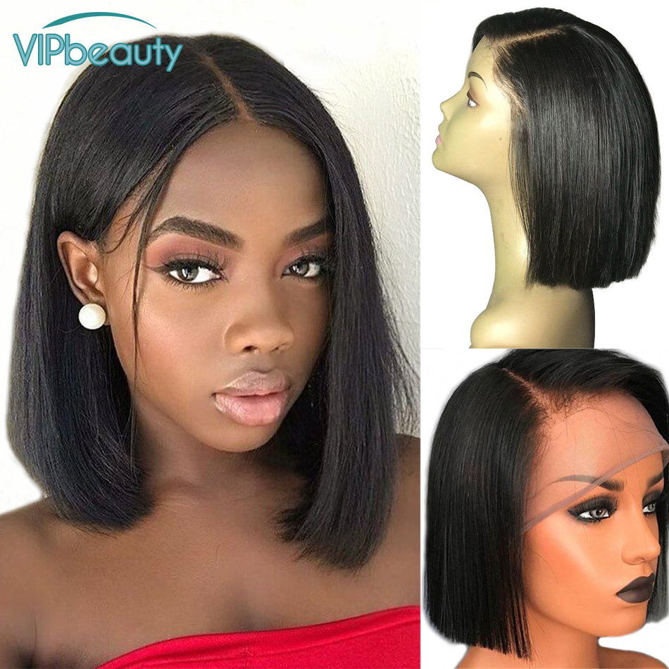 Vipbeauty Short Bob Lace Front Wigs Human Hair for Women Natural Pre plucked Brazilian Remy Hair