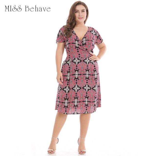 f4a4c34f240 Women Summer Floral Print Large Size Dress Sexy Short Sleeve Waist Midi  Dress A Aline Vintage Dress vestido de verano Dresses