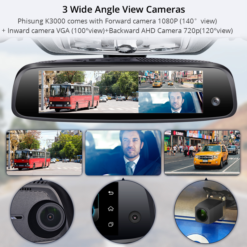 RAM2G ROM32G 3 cams 4G dash camera free 32G card GPS navi car video recorder WIFI bluetooth 8 quot IPS dash car DVRs inside cam DVR in DVR Dash Camera from Automobiles amp Motorcycles