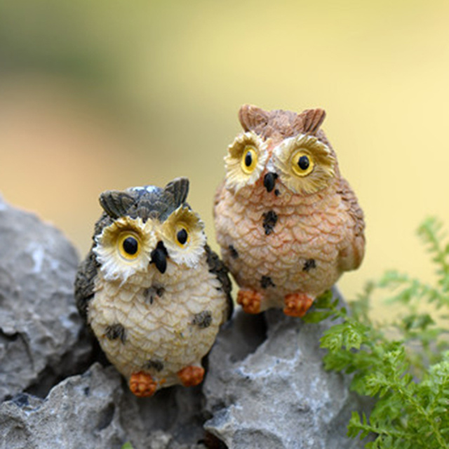4pcs Artificial Cute Miniature Bird Owl Resin Figurine Craft Fairy Miniature Garden Dollhouse Ornament Home  Decoration DIY 5