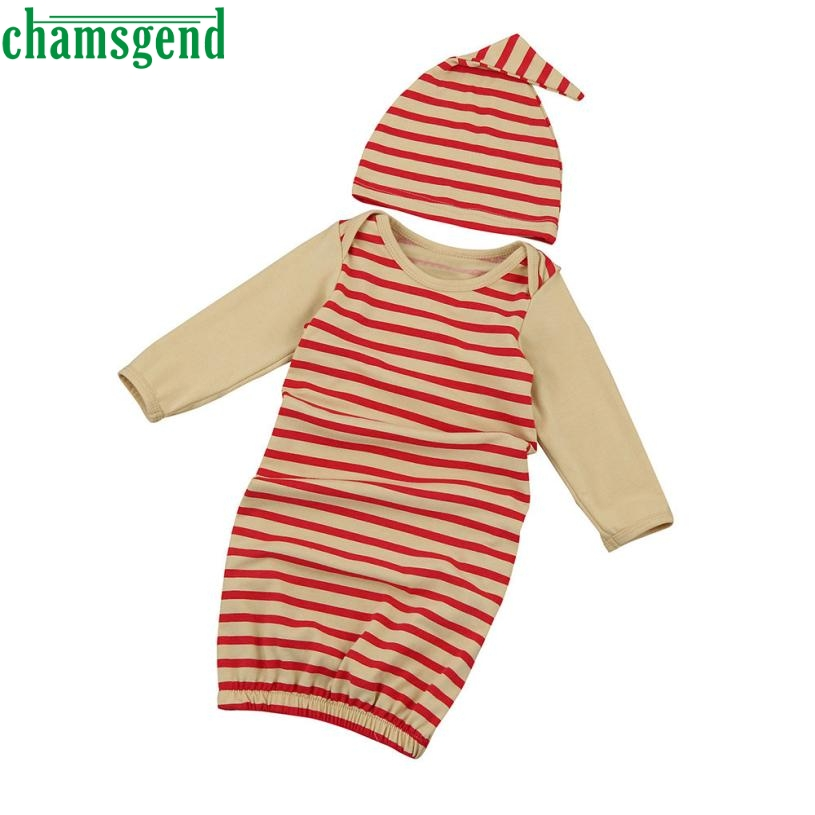 Childrens clothing Red fashion Newborn Infant Kids Baby Girl Long Sleeve Pajamas Gown+Hat Outfits Clothes Set gift p30