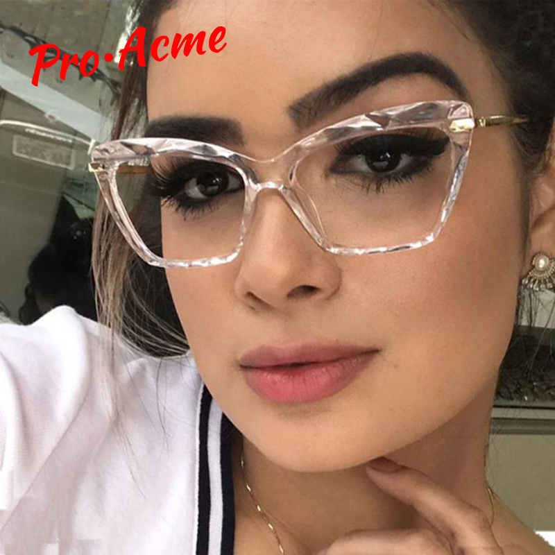 Pro Acme Fashion Square Glasses Frames For Women Trendy Brand Sexy Cat Eye Transparent Glasses Frame Optical Computer Eyeglasse