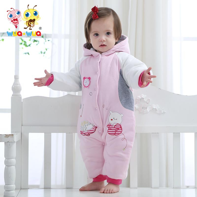 Winter intensificatio warm Cotton Baby Rompers children Hooded warm downbaby embroidery clothes  winter baby winter coat warm thicken baby rompers long sleeve organic cotton autumn