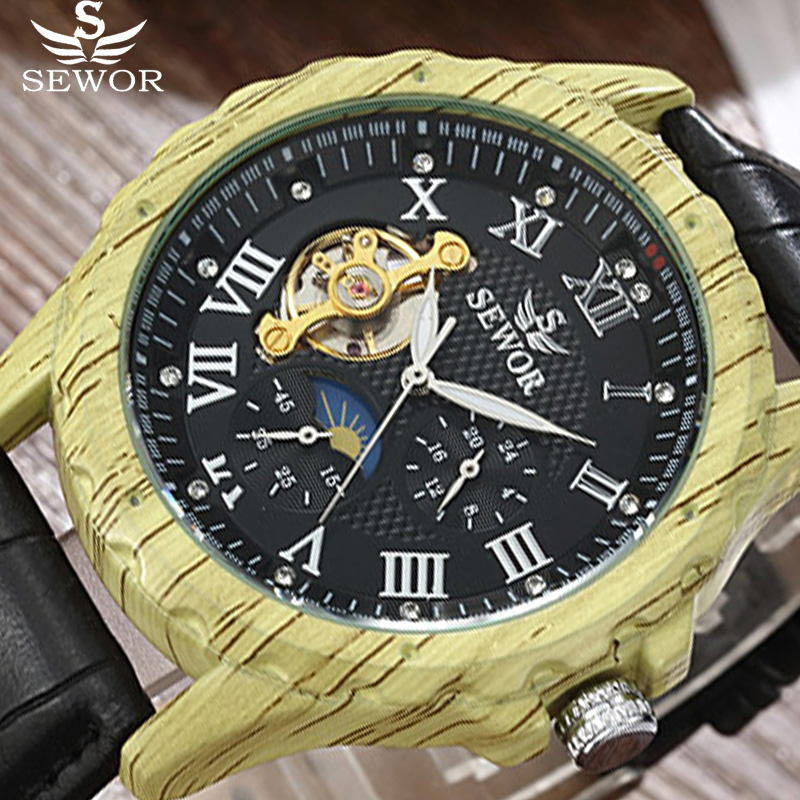 Automatic Mechanical Watch Men SEWOR Top Brand Luxury Tourbillon WoodBusiness Watch Retro Leather Watches Relogio Masculino