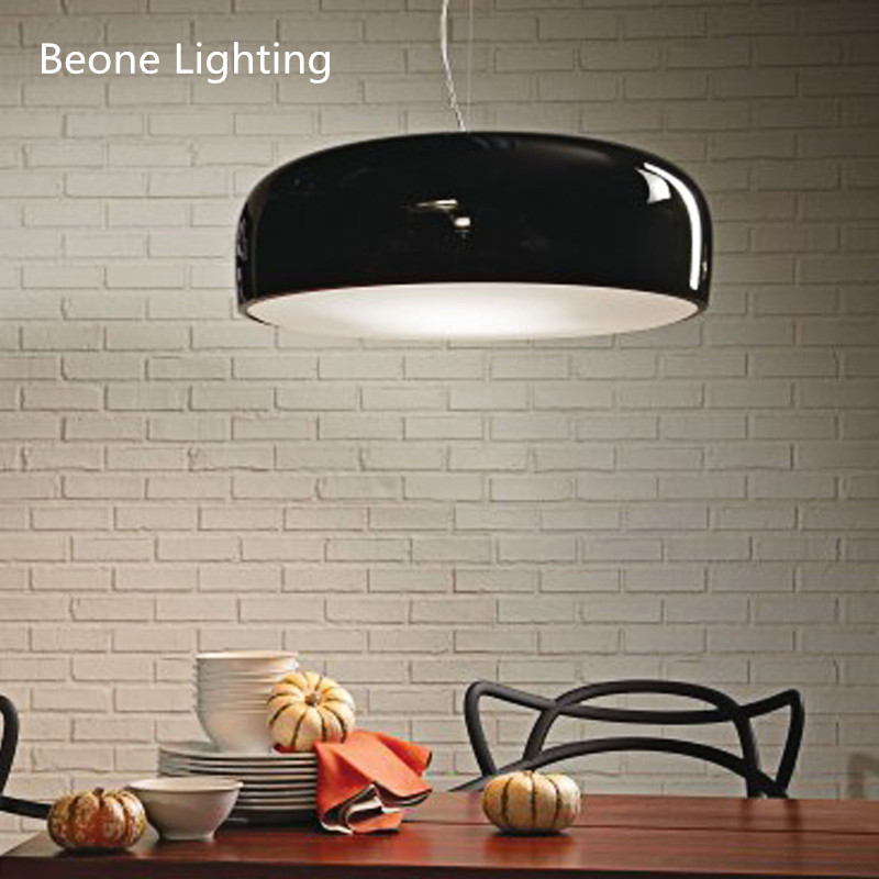 Modern D50/60cm glossy black white with acrylic cover dining room study office bedroom pendant lights lamp nordic hanging lightModern D50/60cm glossy black white with acrylic cover dining room study office bedroom pendant lights lamp nordic hanging light