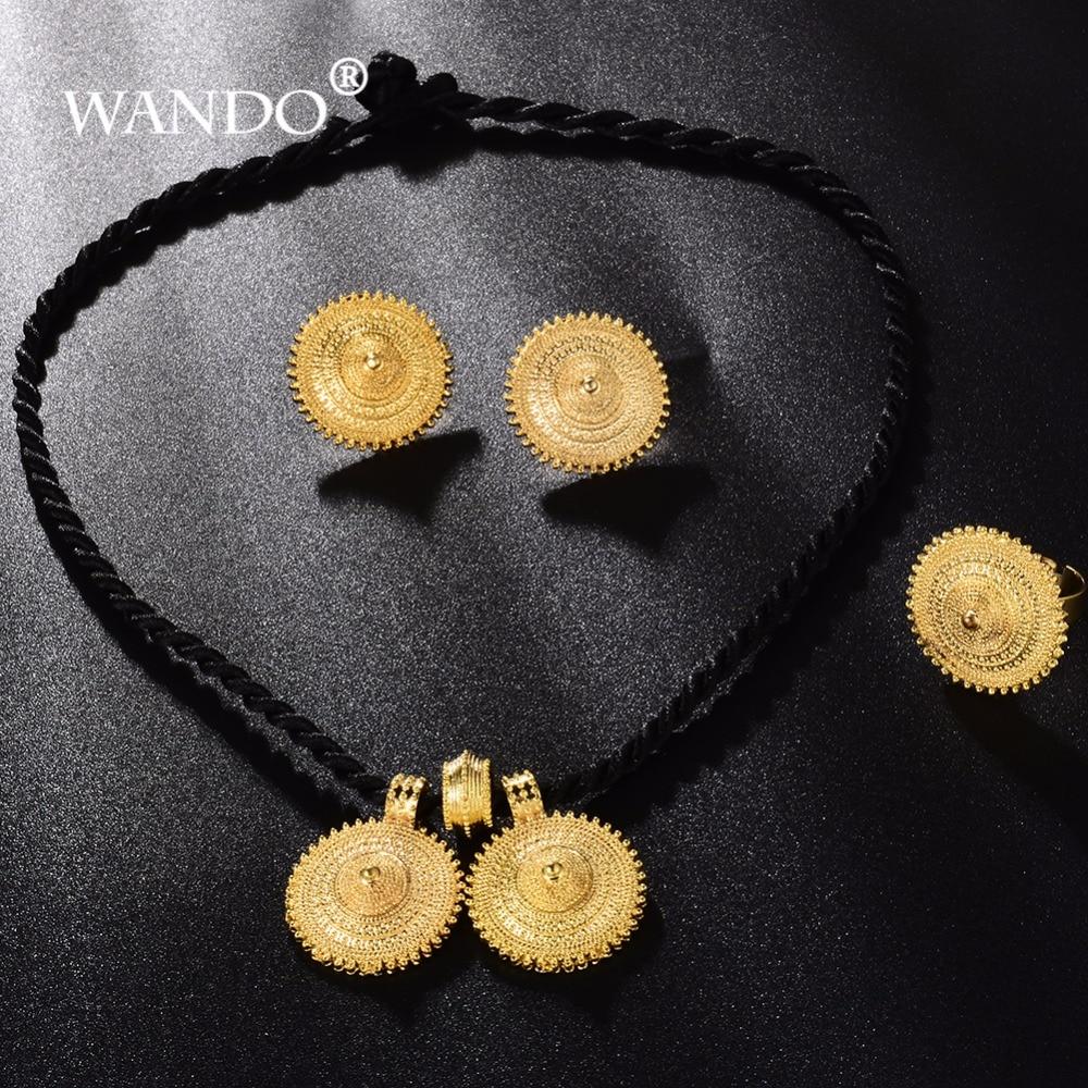 WANDO Ethiopian Gold Color Jewelry set france Eritrean Big Pendant  Earrings Free Size Ring Women Wedding Gift WS26