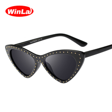 Winla Fashion Design Women Gafas Cat Eye Sunglasses Rivet Print Female Sun Glasses Classic Eyewear Vintage Shades UV400 WL1187