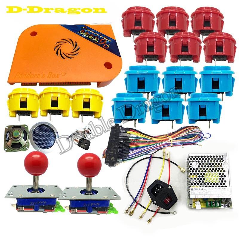 Kits de paquets d'arcade pièces jeu vidéo Pandora Box 9D 2222 en 1 avec alimentation Jamma câblage Joystick bouton poussoir éclairé