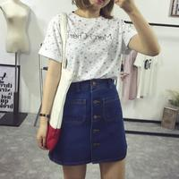 A Word Skirt Korean Denim Short Skirt Was Thin Single Breast Button Denim Skirt Skirt Summer Package Skirt Women