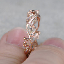 ROMAD Zirconia Wreath Rings for Women Rose Gold Color vine Leaf Finger Ring with AAA CZ Female Party Boho Jewelry R4