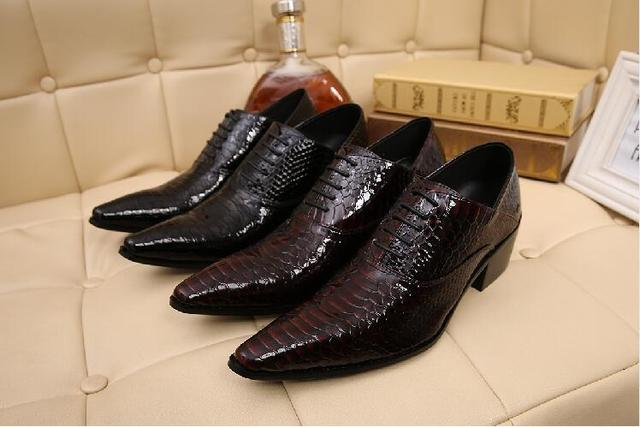 2018 Spring Alligator Shoes For Men Genuine Leather Mens Shoes High Heels Pointed Toe Classic Italian Shoes Brands Oxfords