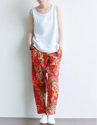 Новинки для женщин летние штаны-шаровары штаны с цветочным принтом Повседневное китайский Национальный хлопковые льняные брюки с рисунком в виде пионов, эластичные Капри по талии - Цвет: Красный