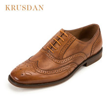 KRUSDAN Brand Fashion Men Derby Shoes Casual Oxford Shoes For Men High Quality genuine leather business male shoes Leather shoes cheap Adult BL016-53 Hand-Painted Fits true to size take your normal size Oxfords Lace-Up Rubber Latex Spring Autumn Cow Leather