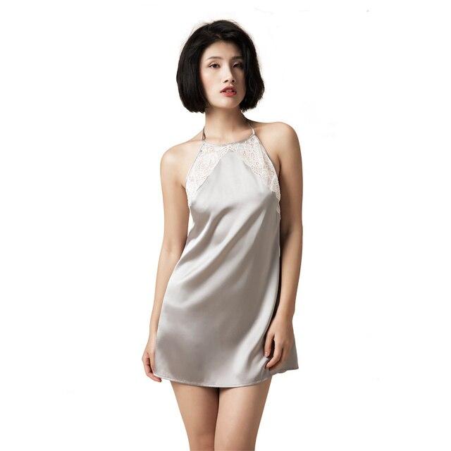 dd4abca97 Mulheres 100% Camisolas de Seda Pura Rendas Sleepwear Halter Vestidos de Noite  Vestidos de Seda