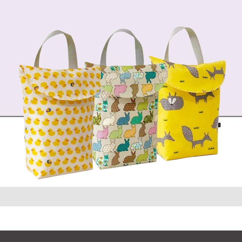 New Multifunctional Baby Diaper Organizer Mummy Storage Bag Reusable Waterproof Fashion Printing Wet/Dry Bag  Travel Nappy Bag