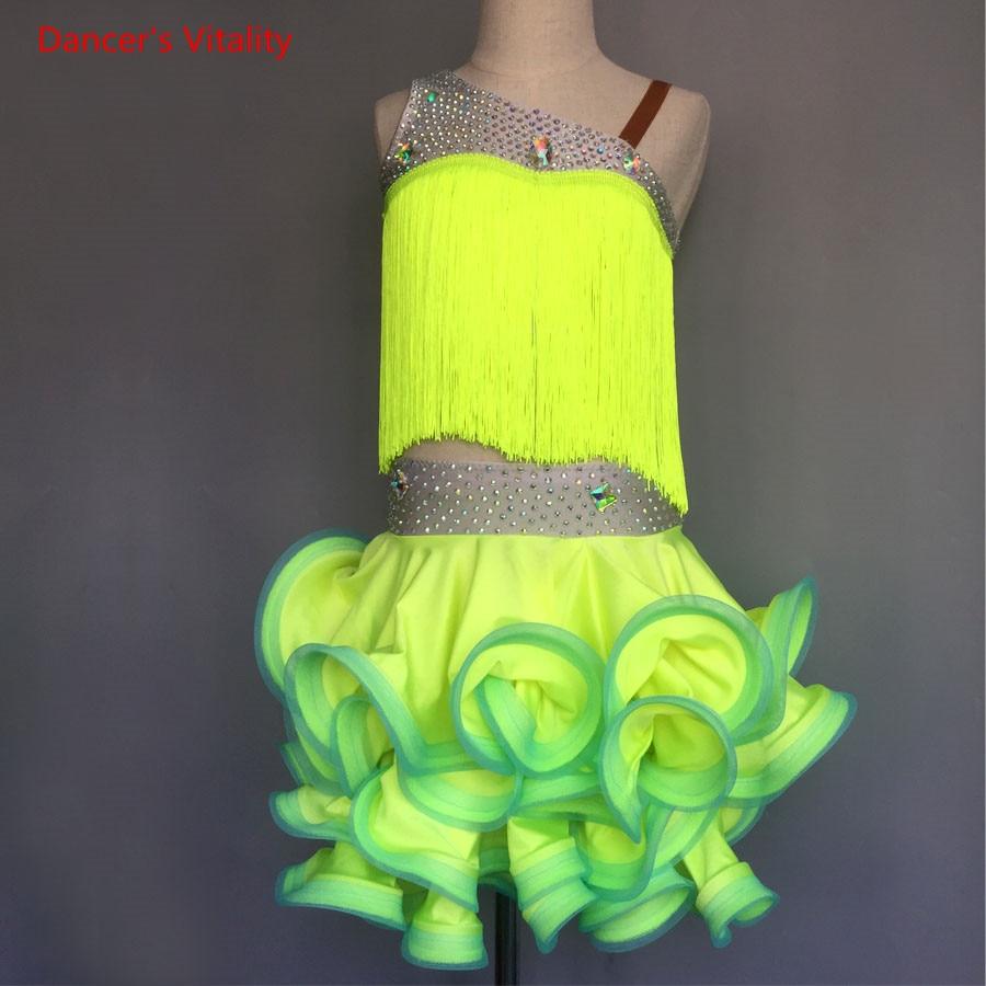 Sexy Sleeveless Diamond Tassel Dress Adult Kids Latin Ballroom Dance Costume For Women/Girls Latin Dance Competition Clothes