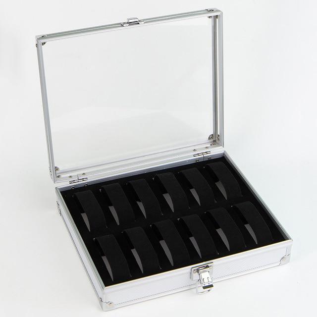 a517c3dfcca 12 grade de alumínio caixa de relógio caixa de relógio Linda Estojo caixa  relogio couro