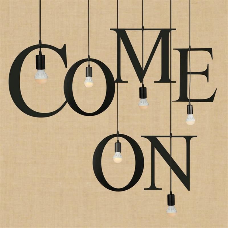 Loft Style Iron English Letters DIY Portfolio Droplight Industrial Vintage Lighting LED Pendant Light Fixtures Hanging Lamp