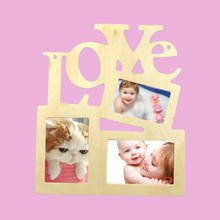 Family DIY Hollow Love Wooden Photo Picture Frame Rahmen Home Decor Collage Durable(China)