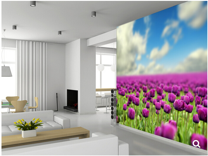 Custom nature murals,Spring Tulips,3D photo wallpaper for living room bedroom TV backdrop embossed papel de parede custom 3d mural wallpaper european style painting stereoscopic relief jade living room tv backdrop bedroom photo wall paper 3d
