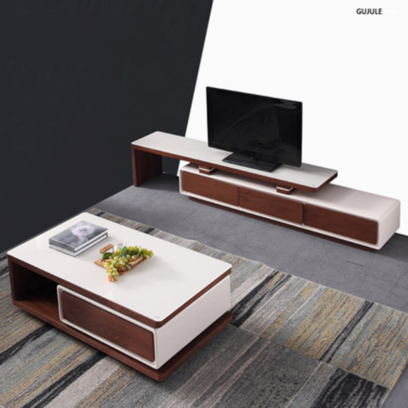 Furniture Parlor marble combination Wood adjustable TV cabinet coffee table furniture parlor marble combination wood adjustable tv cabinet coffee table