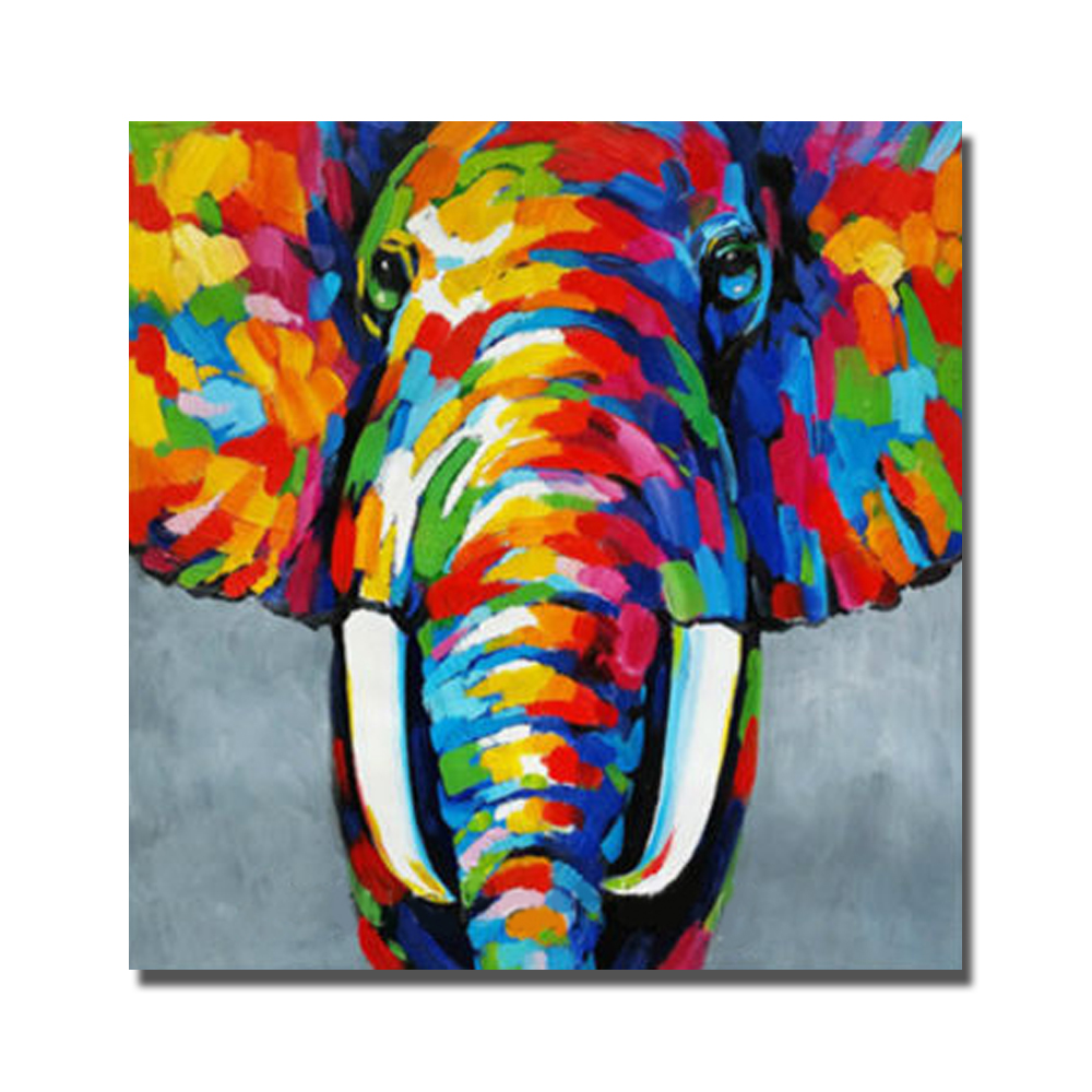 Indian Elephant Oil Painting Wild Animal Large Paintings On Canvas Hand Paint Abstract Cartoon In Calligraphy From Home Garden