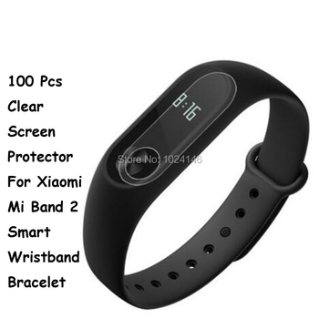 100 Pcs/Lot HD Clear Screen Protector For Xiaomi Mi Band 2 Smart Wristband Bracelet Protective Film Guard With Cleaning Cloth