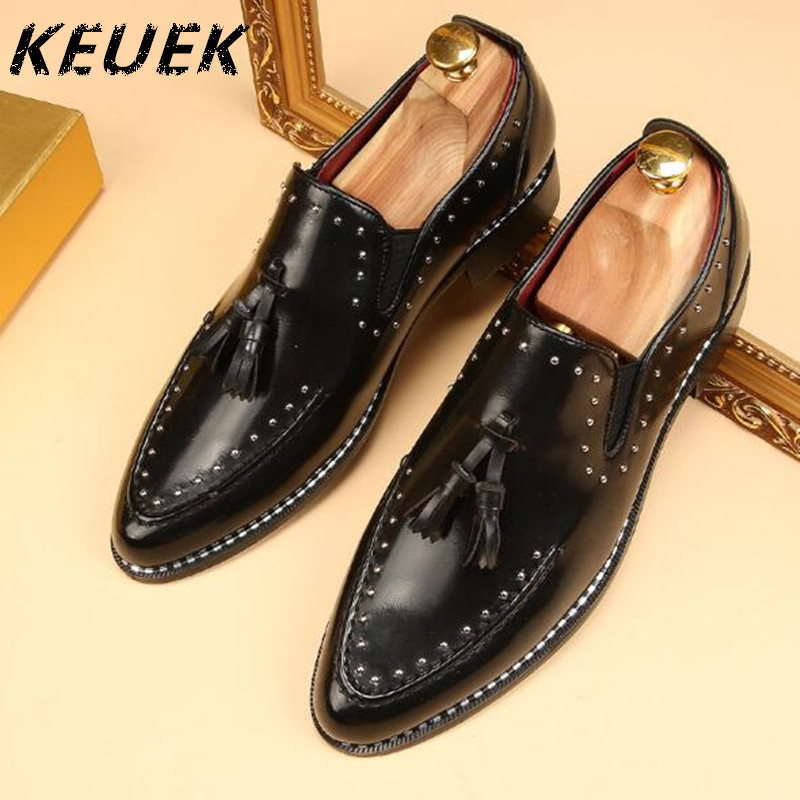 Pointed toe Tassel Leather shoes Men Slip On Brogue Shoes Flats British style Rivet shoes Casual Loafers chaussure homme 022 pointed toe tassel leather shoes men slip on brogue shoes flats british style rivet shoes casual loafers chaussure homme 022