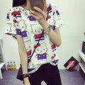 2016 новое поступление женщин летняя футболка прекрасный котята печатных Tee основные дна короткие топы бесплатная доставка