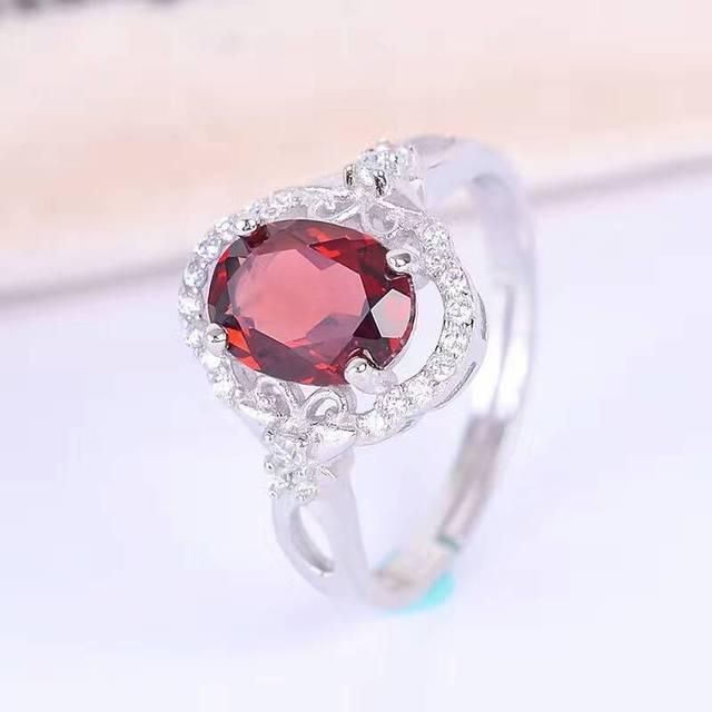 Clásico anillo de compromiso 1 ct anillo de piedras preciosas granate natural sólido 925 anillo de granate plata sterling romantic brithday regalo para la esposa