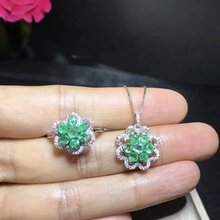 Qi Xuan_Fashion Jewelry_Colombia Green Stone Flower Jewelry Set_S925 Solid Silver Set_Factory Directly Sales