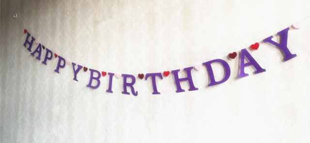 handmade purple happy birthday banner baby shower decorations with