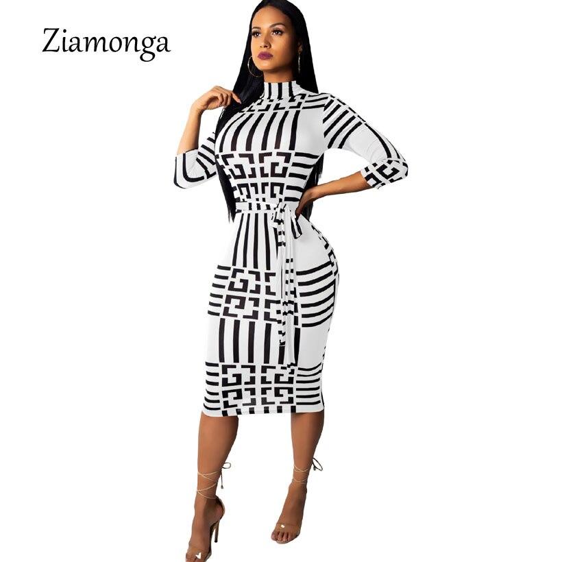 Ziamonga Sexy Club Dresses 2019 Autumn Winter Women Striped Dress Long Sleeve Turtleneck Bodycon Dress Women Midi Casual Dress