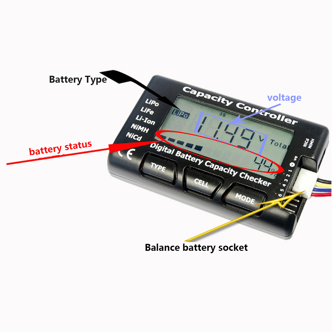 Cell Battery Capacity Checker RC CellMeter-7 Digital For LiPo LiFe Li-ion Nicd NiMH Battery Voltage Tester Checking 1 55v and 3v button cell battery checker battery tester green