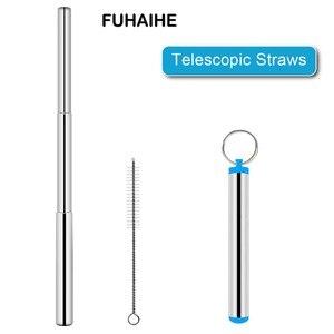 Image 1 - FUHAIHE портативная телескопическая соломенная солома из нержавеющей стали для путешествий многоразовая солома с 1 кисточкой и металлическим чехлом чехол