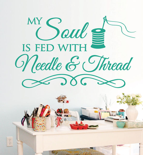 g260 sewing craft room soul needlethread saying vinyl wall decals
