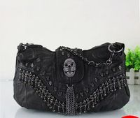 2019 new trend skull genuine leather black messenger bag sheepskin patchwork rivet bag women's suede bags