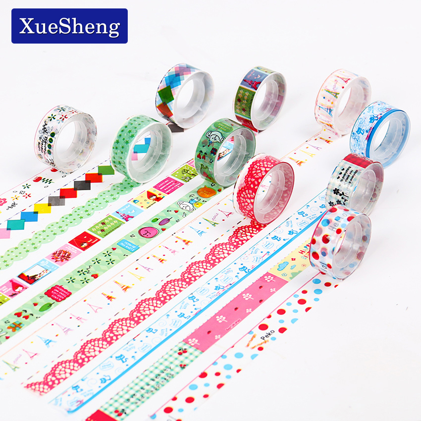 10 PCS Wholesale Cute Cartoon Tape Children Small Colored Tape Send Mixed Office Stationery Gift
