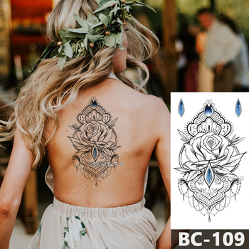 1 Sheet Chest Body Tattoo Temporary Waterproof Jewelry Rose lace gemstone pattern Decal Waist Art Tattoo Sticker for Women