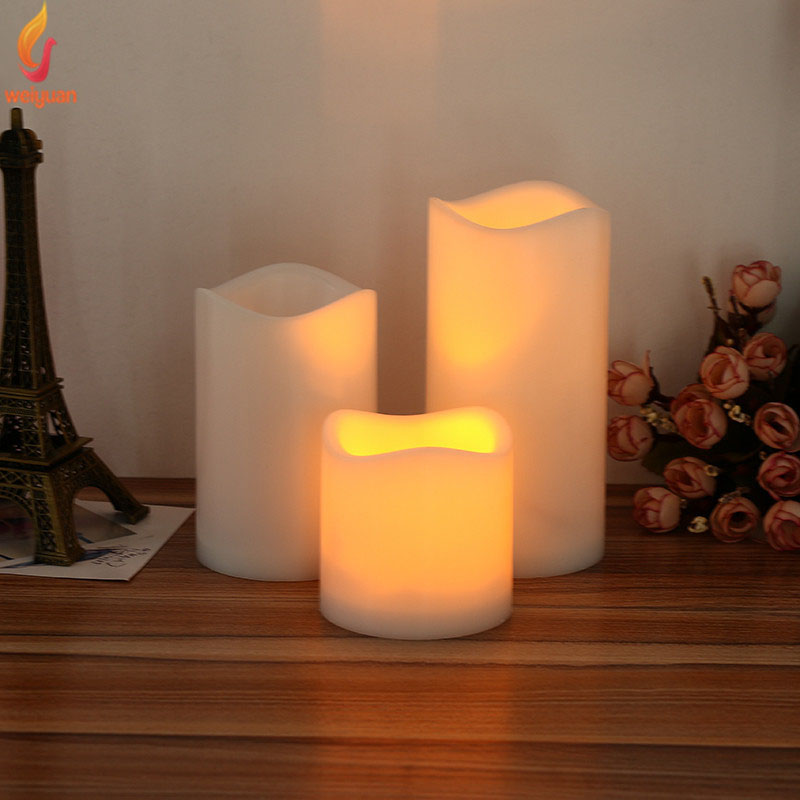 15/13/10/7cm Cylindrical Flickering LED Candle Light Flameless Christmas Lamp P20
