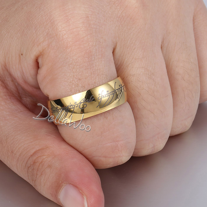 Vanlentine LOTR of the Rings Elegant Mens Boys Gold Tone Smooth ...