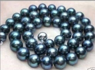 FREE SHIPPING N3807 10 11MM AAA TAHITIAN BLACK BLUE PEARL NECKLACE