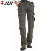 JLH Man Cargo Pants 100 Cotton Breathable Men Trousers Long Straight Loose Casual Pockets Green Grey