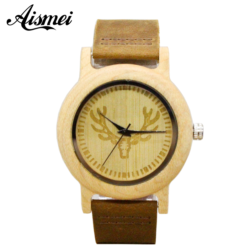 2018 Fashion Women Deer Head Bamboo Wood Casual Watches for Female laides Genuine Leather Strap Quartz Watch Gift drop shipping