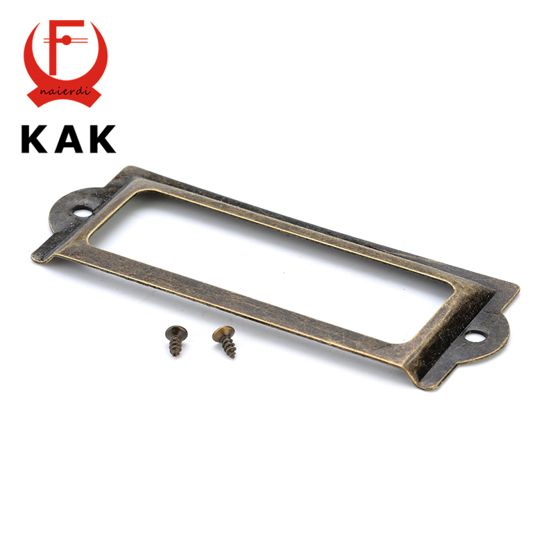KAK 82*30mm Handle Antique Brass Metal Label Pull Frame File Name Card Holder For Furniture Cabinet Drawer Box Case Hardware