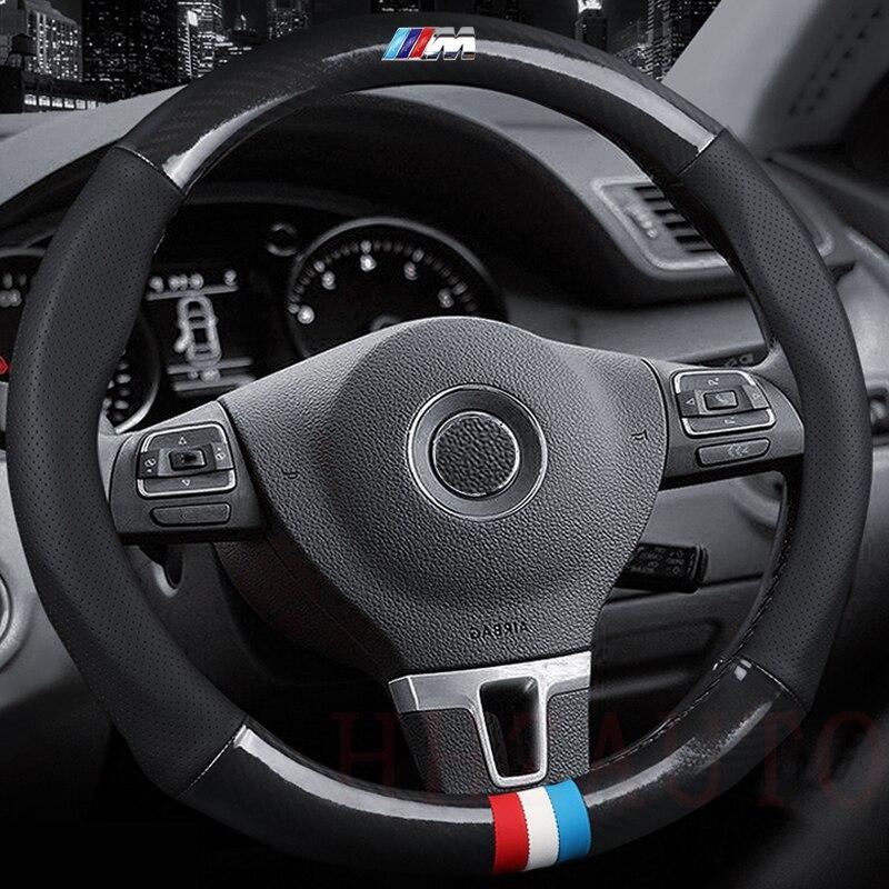 Новый стиль рулевого колеса автомобиля крышки Универсальный 38 см Спорт Авто рулевого колеса 38 см углеродного волокна кожи для BMW VW ford Focus Kia