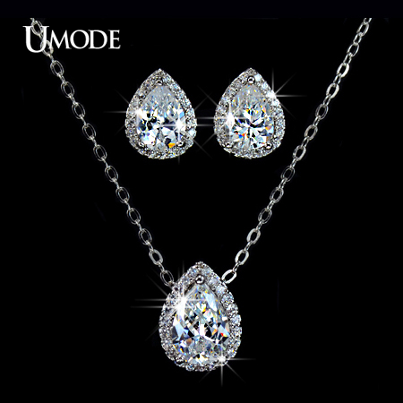 font b UMODE b font Rhodium plated Jewelry Sets Paved AAA CZ Water Drop Pendant