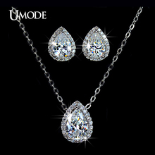UMODE White Gold Color Jewelry Sets Paved AAA CZ Water Drop Pendant Necklace Stud Earrings For